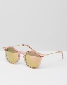 Круглые солнцезащитные очки в розовой мраморной оправе с зеркальными стеклами ASOS - Розовый