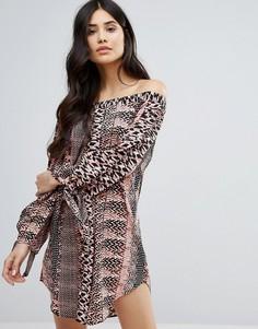 Платье мини с открытыми плечами и принтом Ax Paris - Мульти
