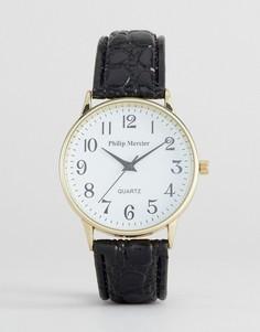 Часы с белым циферблатом и черным ремешком Philip Mercier - Черный