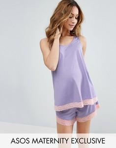 Пижамный комплект из майки и шортов с кружевной отделкой ASOS Maternity - Фиолетовый