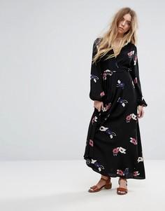 Платье макси с цветочным принтом Rollas - Черный Rollas