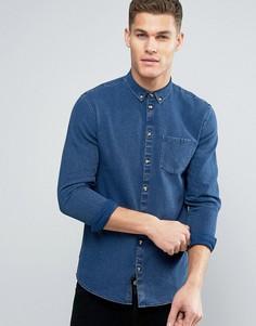 Синяя приталенная джинсовая рубашка на пуговицах Minimum Oliseo - Синий