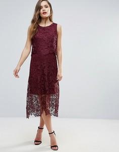 Кружевное платье миди Ax Paris - Красный