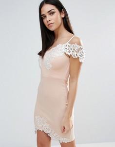 Облегающее платье с кружевной вставкой Lipsy - Розовый