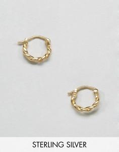 Винтажные серьги-кольца из позолоченного серебра 10мм ASOS - Золотой