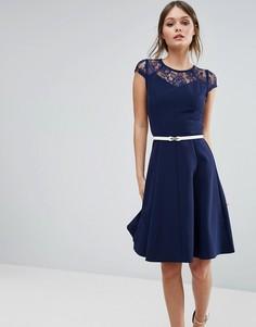 Свободное платье с кружевом Paper Dolls - Темно-синий