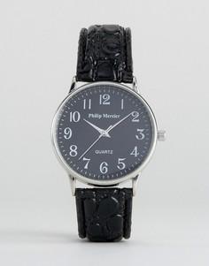 Часы с черным ремешком и черным циферблатом Philip Mercier - Черный