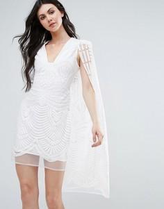 Кружевное платье мини с накидкой Lavish Alice - Белый