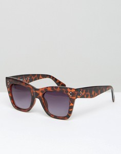 Квадратные солнцезащитные очки в массивной черепаховой оправе AJ Morgan - Коричневый