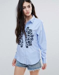Рубашка в полоску с цветочной вышивкой Brave Soul - Синий