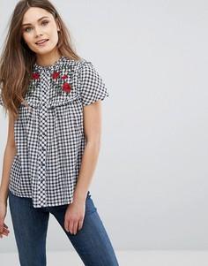 Рубашка в клетку с вышивкой New Look - Белый