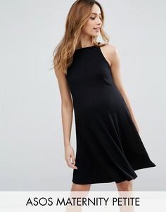 Свободное платье мини в рубчик ASOS Maternity PETITE - Черный