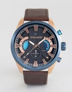 Часы с черным циферблатом и коричневым кожаным ремешком Police Cyclone - Коричневый