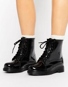 Черные резиновые ботинки со шнуровкой Glamorous - Черный