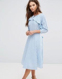 Платье в полоску с поясом Y.A.S Nima - Мульти
