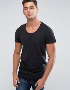Удлиненная футболка с закругленным краем Jack & Jones Originals - Черный