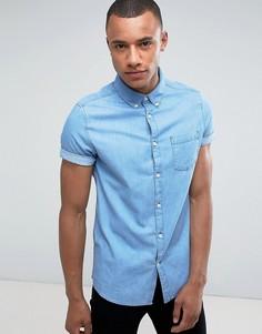 Узкая джинсовая рубашка с короткими рукавами Burton Menswear - Синий