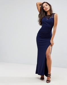 Платье макси с пайетками и кружевом Lipsy Sweetheart - Темно-синий