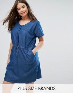 Джинсовое платье с поясом Junarose - Синий
