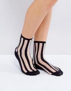 Носки с прозрачной полосой Monki - Черный
