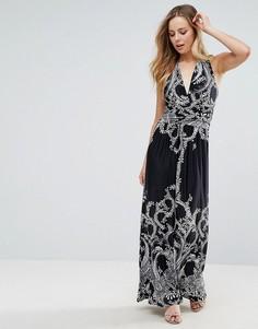 Длинное платье халтер с принтом Pussycat London - Черный