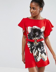 Платье-туника с цветочным принтом и поясом Pussycat London - Красный