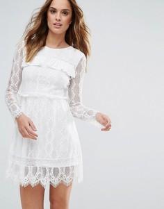 Кружевное платье с длинными рукавами Millie Mackintosh - Белый