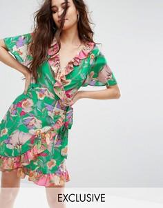 Платье с запахом и контрастными оборками Reclaimed Vintage Inspired - Мульти