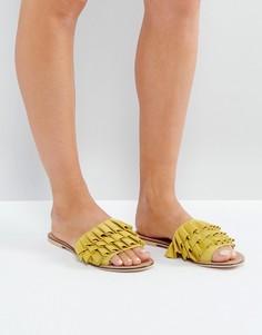 Замшевые шлепанцы с оборкой ASOS FION - Желтый