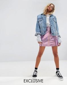 Мини-юбка с голографическим эффектом Mad But Magic - Розовый