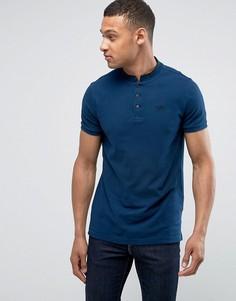 Темно-синяя облегающая футболка-поло хенли с карманом и логотипом в виде чайки Hollister - Темно-синий