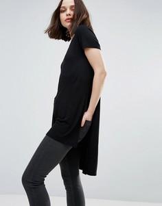 Длинная футболка с разрезами Only Jewel - Черный