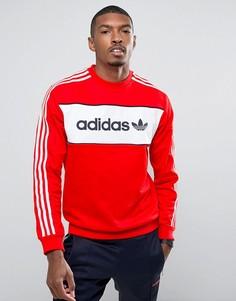 Красный свитшот колор блок с круглым вырезом adidas Originals London Pack BK7804 - Красный