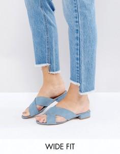 Сабо из искусственной замши на низком каблуке для широкой стопы New Look - Синий