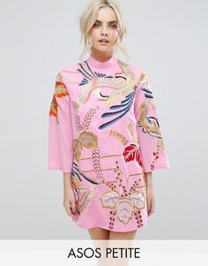 Платье мини А-силуэта с вышивкой ASOS PETITE - Розовый