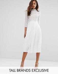 Плиссированное платье миди с кружевным верхом и рукавами 3/4 Little Mistress Tall - Белый