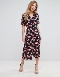 Платье миди с цветочным принтом Influence - Черный