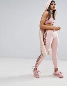 Леггинсы с атласной шнуровкой Puma X Fenty - Розовый