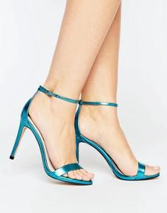 Синие легкие босоножки на каблуке с эффектом металлик Steve Madden Stecy - Синий