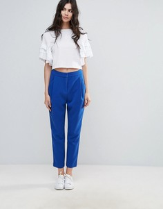 Укороченные строгие брюки с классической талией Selected Laya - Синий