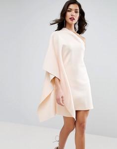Платье мини на одно плечо с рукавом-кейпом ASOS PREMIUM - Кремовый
