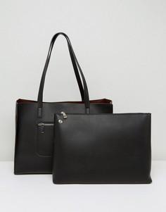 Структурированная сумка-шоппер с наружным карманом на молнии ASOS - Черный