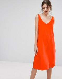 Шелковое платье-комбинация кораллового цвета Selected - Оранжевый