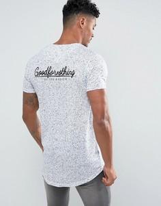 Белая обтягивающая футболка в крапинку с принтом на спине Good For Nothing - Белый