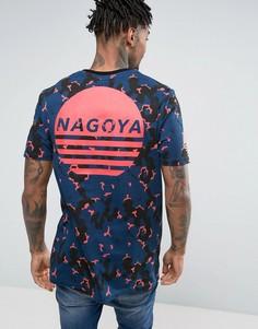 Удлиненная футболка с камуфляжным принтом и надписью Nagoya ASOS - Синий
