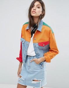 Джинсовая куртка в стиле колор блок ASOS - Мульти
