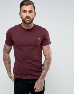 Фиолетовая узкая футболка с круглым вырезом и логотипом Fred Perry - Красный