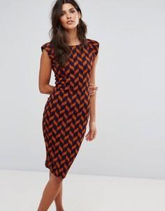 Облегающее платье миди с принтом Ax Paris - Красный