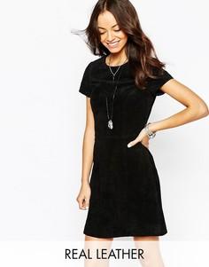 Кожаное цельнокройное платье New Look - Черный