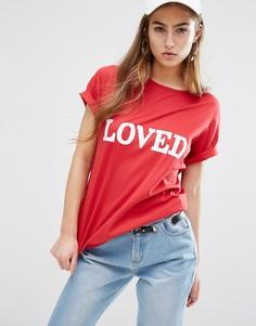 Свободная футболка с принтом Loved Daisy Street - Красный